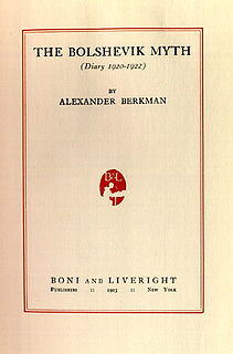 <i>The Bolshevik Myth</i> book by Alexander Berkman