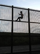 """Wildlife-friendly"" border wall in Brownsville, Texas, which would allow wildlife to cross the border. A young man climbs the wall using horizontal beams for foot support."