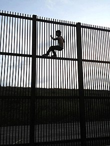 """Wildlife-friendly"" border wall in Brownsville, Texas, which would allow wildlife to cross the border. A young man climbs wall using horizontal beams for foot support."