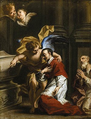 Charles Borromeo - Painting by Francesco Caccianiga showing an angel tending to Charles Borromeo