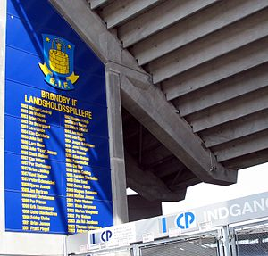 "Brøndby IF - The ""Wall of Honour"" chronicling Brøndby's national team players, of varying nationalities, since 1982."