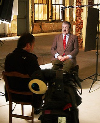 """Broad Street Bullies (film) - The HBO film's producer George Roy conducting one of its two dozen interviews with hockey historian Bruce """"Scoop"""" Cooper."""