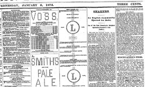"A portion of the Brooklyn Daily Eagle, January 6, 1875 showing advertisements made from ""Ascii"" art."
