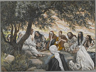 Jesus - The Exhortation to the Apostles, by James Tissot, portrays Jesus talking to his 12 disciples