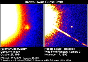 Brown dwarf - The smaller object is Gliese 229B, about 20 to 50 times the mass of Jupiter, orbiting the star Gliese 229. It is in the constellation Lepus, about 19 light years from Earth.