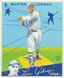 A baseball card image of a man wearing a white baseball uniform and cap; he holds a light brown baseball bat over his right shoulder