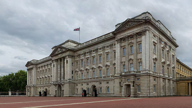 A 4 x 7 segment mosaic of Buckingham Palace, L...