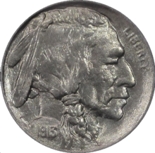 Buffalo Nickel 1913 de type 1 Obverse.png