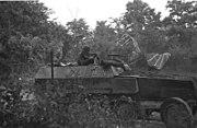 Man manning machine gune on top of a half track vehicle
