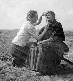 "Racial hygiene - Eva Justin checking the facial characteristics of a Romani woman as part of her ""racial studies"""