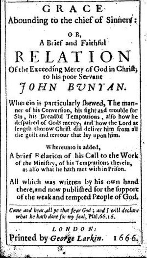 Spiritual autobiography - Title page from the first edition of John Bunyan's Grace Abounding