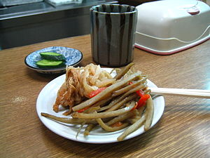 Arctium lappa - A Japanese appetizer, kinpira gobō, consisting of sauteed gobō (greater burdock root) and carrot, with a side of sautéed dried daikon