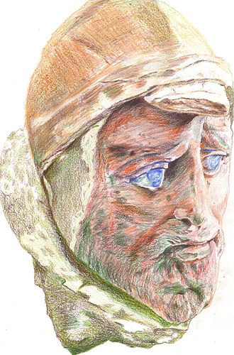 """Yuezhi - A bust of a man (c. 100 century BC) found at the major Yuezhi/Kushan site of Khalchayan, in northern Bactria (near modern Denov, Uzbekistan). (The head is sometimes described as """"Saka"""" – a people often conflated with the Yuezhi.)"""