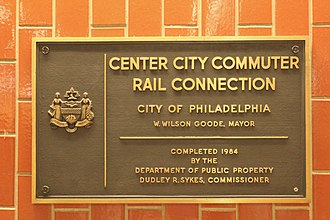 Center City Commuter Connection - City plaque in Jefferson Station
