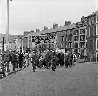 Campaign for Nuclear Disarmament - CND rally, in Aberystwyth, Wales May 25, 1961