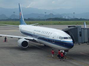 Guilin Liangjiang International Airport - A China Southern Airlines 737-800 boarding