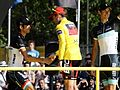 Cadel Evans with the bothers Schleck (cropped).jpg