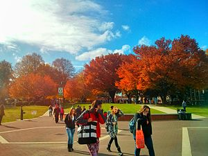 York College of Pennsylvania - Students walking to class on a fall day