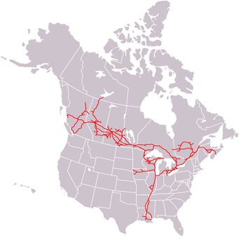 A map of the Canadian National Railway system, showing the system marked in red lines across the continental United States and Canada.
