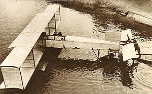 Voisin - Voisin Canard seaplane under trial on the Seine, on August 3, 1911. The front of the aircraft is to the right.