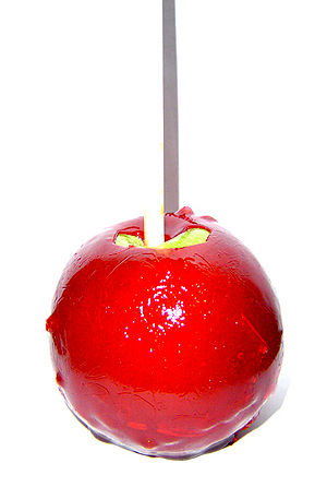 English: A digital picture of a candy apple, t...