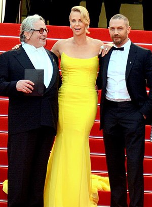 Tom Hardy - George Miller, Charlize Theron and Hardy promoting Mad Max: Fury Road at the 2015 Cannes Film Festival
