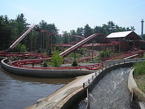 Canyon Blaster (Great Escape) - Loading station, both lift hills with flume of the Desperado Plunge in right foreground.