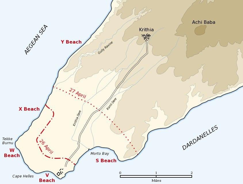 Cape Helles landing map