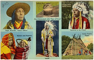 Multnomah people - Chief Multnomah with Pipe of Peace (The Tichnor Brothers Collection, Boston Public Library)