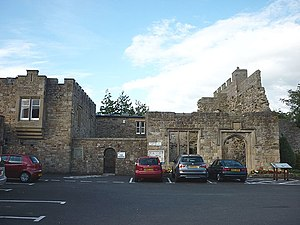 Blenkinsopp Castle - Image: Car park and ruins, Blenkinsopp Castle