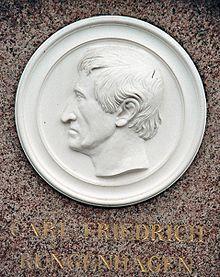 Carl Friedrich Rungenhagen, Porträt-Medaillon auf seinem Grabstein (Quelle: Wikimedia)