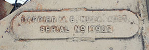 Universal Carrier - Serial number of the carrier displayed at the Roma (Qld) RSL