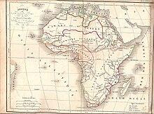 carte de l'Afrique, figurant de grandes zones géographiques, en couleur sépia