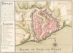 A map of the the French city of Brest, dated to around 1700. Located in the Finistère department of Brittany, Brest lies in a sheltered bay close to the western extremity of metropolitan France. Originally named Bresta, possibly derived from a Celtic word meaning hill, the city came under the rule of the duke of Brittany in 1240. From 1342 to 1397 the city was under English rule, and became part of France in 1491 when a marriage unified Brittany with the French crown. Cardinal Richelieu designated the city a major naval base in 1631, a status it retains today. The city centre was mostly rebuilt after heavy Allied bombing during World War II.