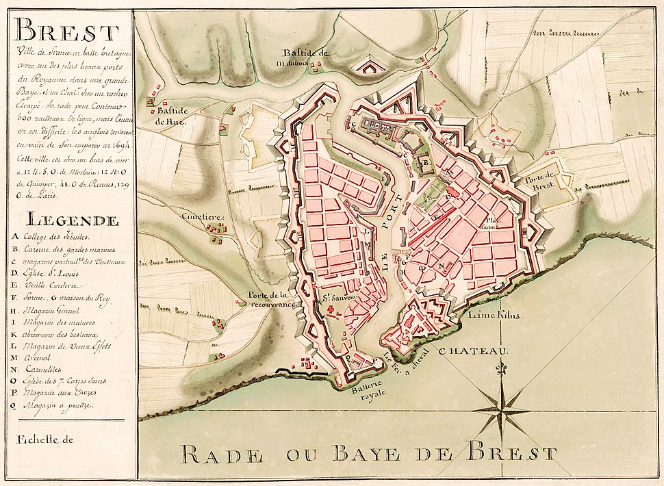 Carte de Brest - ca 1700 - Bibliothèque Nationale de France - Btv1b8439976x