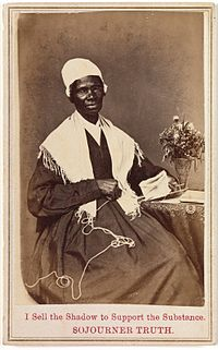 Truth's carte de visite, which she sold to raise money (see inscription).