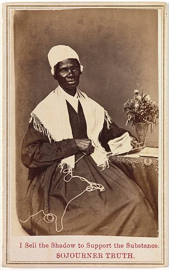 Sojourner Truth - Truth's carte de visite, which she sold to raise money (see inscription).
