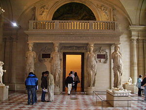 Minstrels' gallery - The elaborate minstrels' gallery in the Salle des Caryatides, Palais du Louvre, Paris.