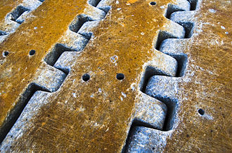 Tread - The tread of a construction machine's tracks.