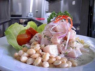 Ceviche Dish of marinated raw seafood