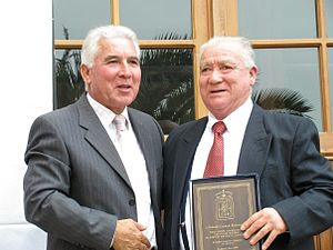 Orlando Cornejo - Cornejo (right) during the re-inauguration of the Centro Cultural Agustín Ross in 2009