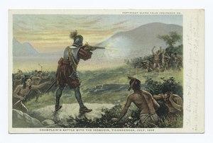 La battaglia di Champlain con gli Irochesi, Ticonderoga, luglio 1609 (NYPL b12647398-79471).tiff