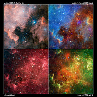 North America Nebula - This image layout reveals how the appearance of the North America nebula can change dramatically using different combinations of visible and infrared observations.