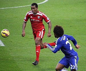 Andre Wisdom - Wisdom playing for West Bromwich Albion in an away match against Chelsea.