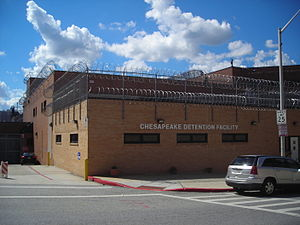 "Maryland Department of Public Safety and Correctional Services - Chesapeake Detention Facility on East Madison Street, east of The Fallsway across from the old historic Maryland Penitentiary and the adjacent Baltimore City Jail / Baltimore City Detention Center in Baltimore, (formerly ""SuperMax"")."