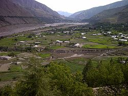 View of Chitral city and river