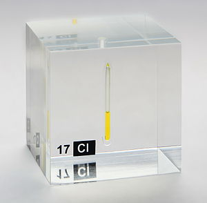 Chlorine - Chlorine, liquefied under a pressure of 7.4 bar at room temperature, displayed in a quartz ampule embedded in acrylic glass.