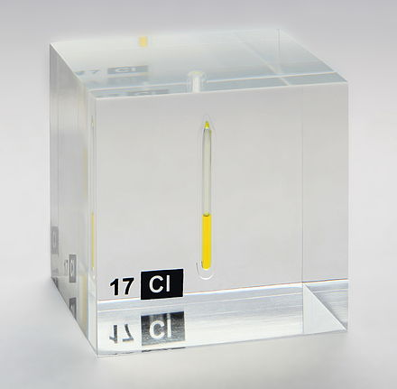 Chlorine, liquefied under a pressure of 7.4 bar at room temperature, displayed in a quartz ampule embedded in acrylic glass. Chlorine liquid in an ampoule.jpg