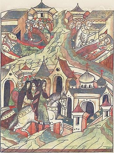 Мстислав у смертного одра Христины (вверху слева). Из Лицевого летописного свода XVIв.