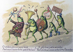 christmas card by louis prang showing a group of anthropomorphized frogs parading with banner and band